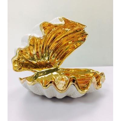 """Фарфоровая статуэтка """"Ракушка 15 см с кристаллом"""""""